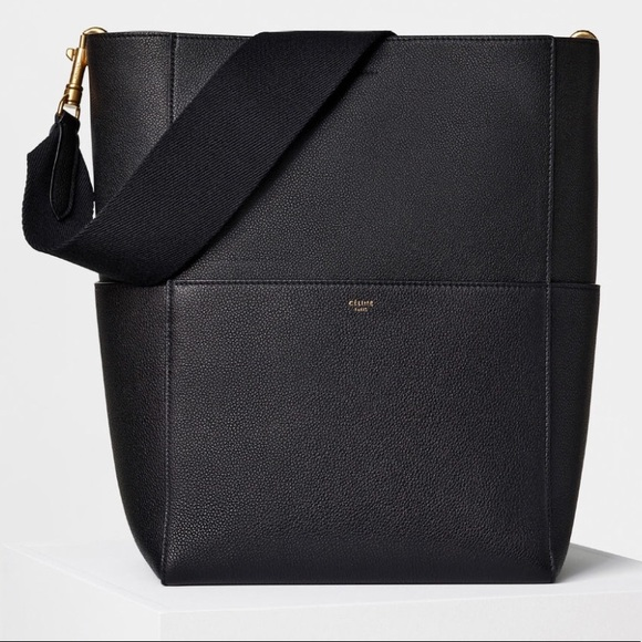 Celine Handbags - SEAU SANGLE BUCKET BLACK SHOULDER TOTE BAG Used 10e4f9bd6ee11